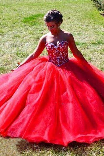Red Beading Sweetheart Ball Gown Tulle Prom Dresses 2017