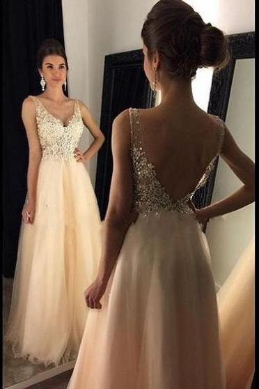 2017 Long Large size Prom Dress Backless Beading Floor-length V-Neck Sleeveless Tulle A-line Cheap