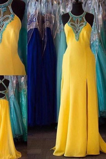 2017 Long Large size Prom Dress Backless Beading Sweep/Brush Train Halter Sleeveless Satin A-line Discount
