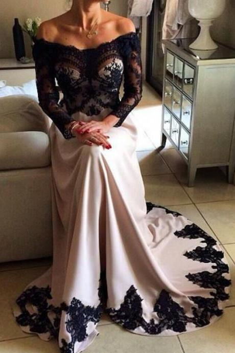 2017 Long Large size Prom Dress Lace Sweep/Brush Train Off-the-Shoulder Full sleeve Stretch Satin A-line Custom Made