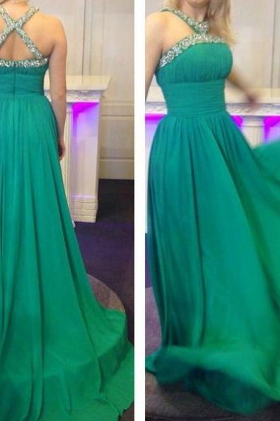 2017 Long Large size Prom Dress Backless Beading Sweep/Brush Train Halter Sleeveless Chiffon A-line On Sale