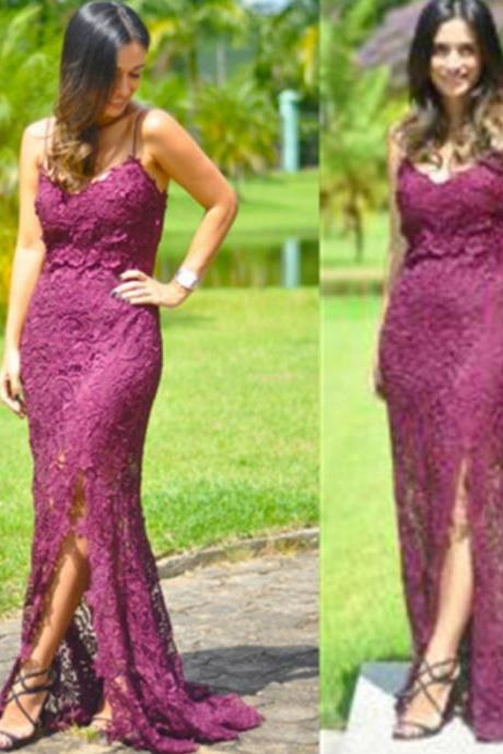 2017 Long Plus Size Prom Dress Lace Sweep/Brush Train Spaghetti Straps Sleeveless Lace Sheath Customized