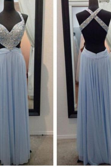 2017 Long Large size Prom Dress Backless Criss Cross Floor-length Straps Sleeveless Chiffon A-line Hot Sale